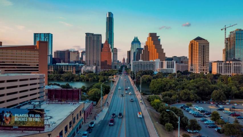 4K Aerial Time Lapse Hyperlapse Austin Skyline Texas Sunset Congress Bridge