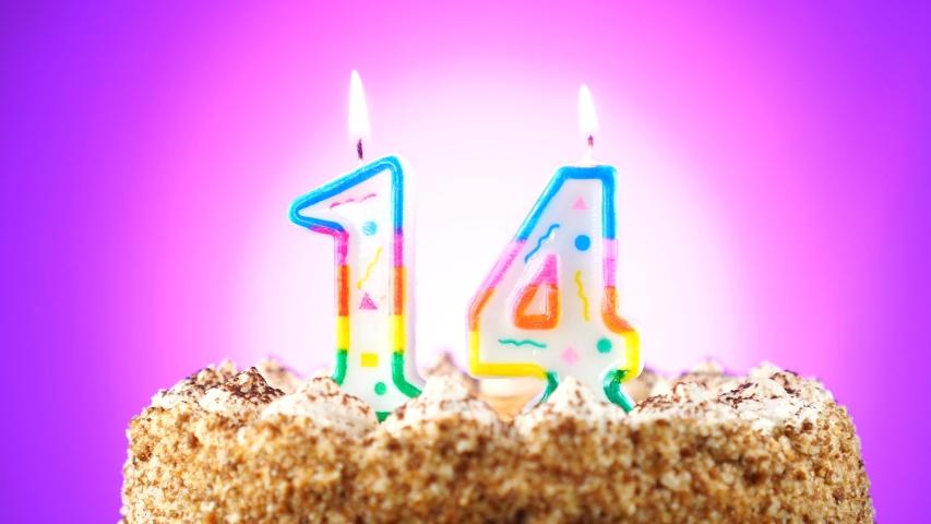 Awe Inspiring Birthday Cake With A Burning Stock Footage Video 100 Royalty Birthday Cards Printable Giouspongecafe Filternl