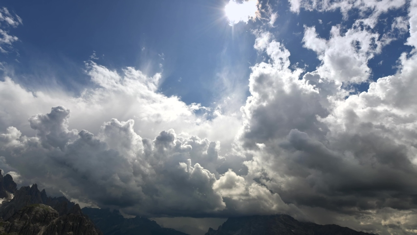 Coming Thunderstorm in the Mountain Alpine Region Time Lapse Video. Italian Dolomites. Belluno Province, Italy. | Shutterstock HD Video #1034773847