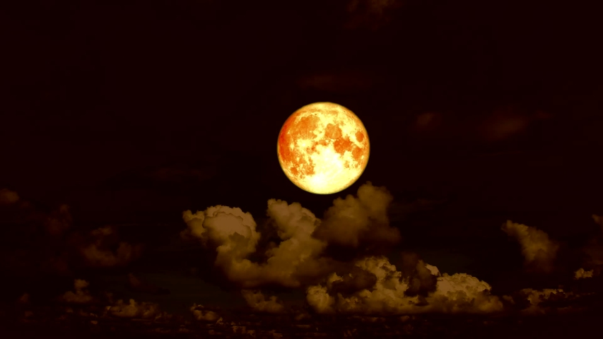 Blood moon and cloud moving on night sky | Shutterstock HD Video #1034786525