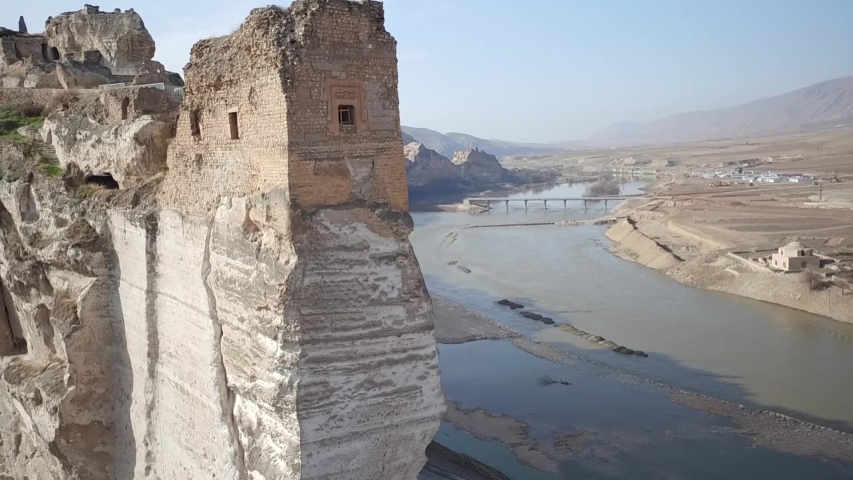 hasankeyf area and old town in batman east side of turkey from aerial shot