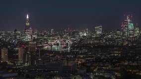 Establishing Aerial View of London, Tower Bridge, Shard, London Skyline, United Kingdom