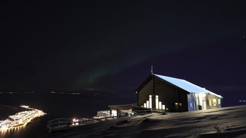 NARVIK , Nordland / Norway - 04 30 2019: Narvikfjellet lodge aurora borealis