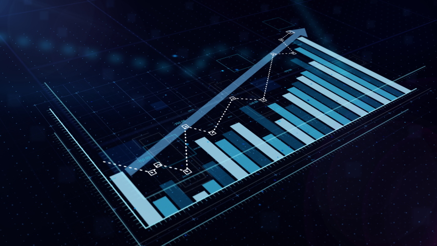 3D animation of a rising blue bar graph with arrow, professional look and feel, ultra HD 4K
