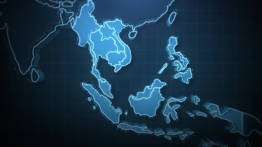 International Network of Southeast Asia, Map, Technology background, Hologram graphic. Royalty-Free Stock Footage #1034814734