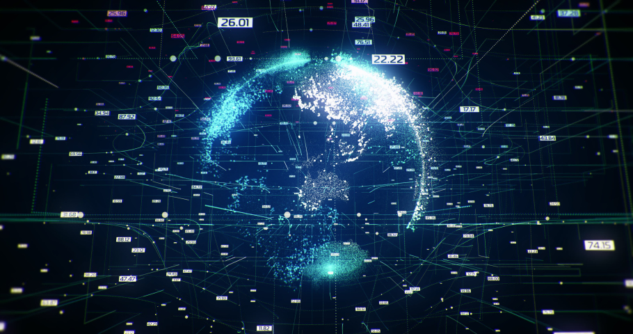 Global Network Zoom, 3D Earth, Internet network Connection, interconnections, digital data, abstract background, information bits   | Shutterstock HD Video #1034818067