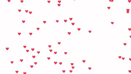 Wow reaction of Internet followers. Loopable animation slowly moving up pink like icons hearts on white background. Valentine's day background. Screensaver for computer or video game.