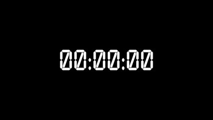 White digital timer starting 0 to 24 hours on black backdrop, Christmas eve concept. New year day timer in 30 seconds. Day of 24 hours on stopwatch. Daily clock with white numbers.