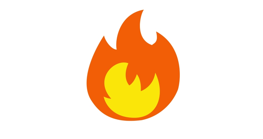 Fire Emoji reaction, icon animation on white background