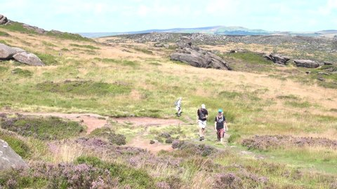 The Roaches, England, 8th August 2019. People out walking on a lovely summers day at The Roaches in The Peak District National Park England.