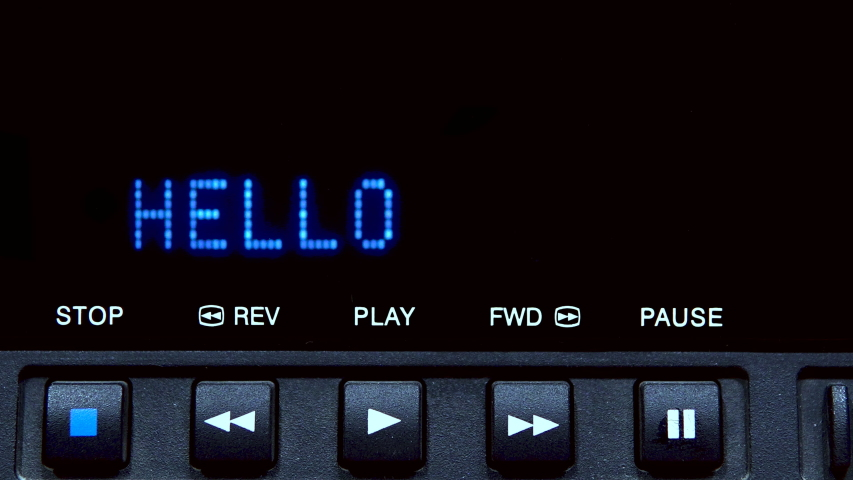 "Disc player with screen. The word ""hello"" is written on the screen 