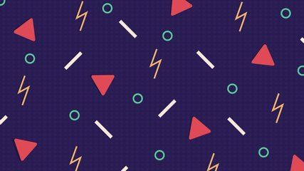 Retro abstract design purple pattern background with colorful triangles, circles, lines and zigzags. Memphis style with geometrical shapes of different vintage colors. Animated vintage from 80-90s.