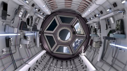 Spaceship Corridor is a stock motion graphics video that shows the interior of a moving spaceship. The POV moves along the corridor. This 1920x1080 (HD) video clip is excellent to use in any project