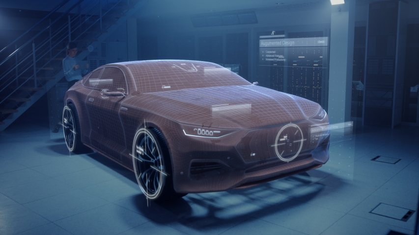 Female Automotive Engineer Uses Digital Tablet with Augmented Reality for Car Design Improvement. 3D Graphics Visualization Shows Vehicle Prototype in Real Time Developing into Futuristic Concept