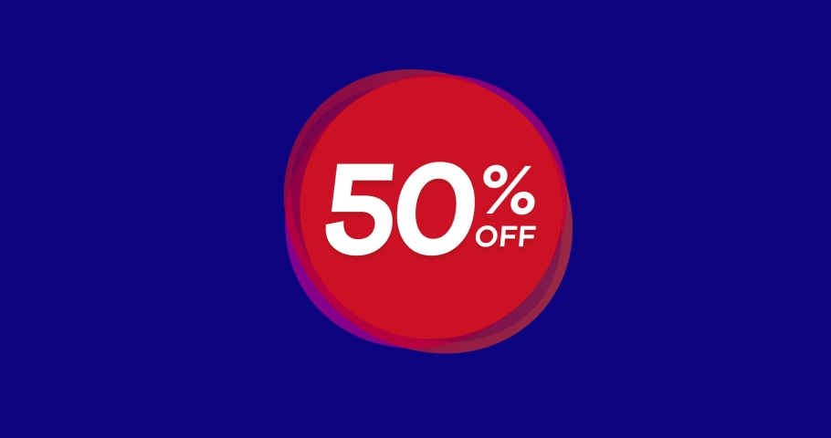 50% OFF Sale Banner. Animated Red Price Tag. Blue Box. | Shutterstock HD Video #1034866454