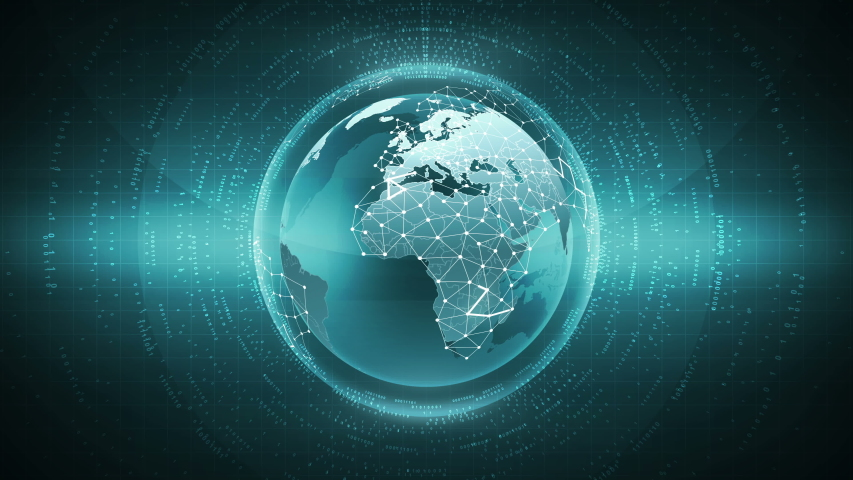 Futuristic Globe Earth Sphere with Network Connection Global Hologram Hud Animation | Shutterstock HD Video #1034870657
