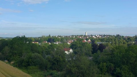 Aerial view from the old part of the city Neuenstein in Germany. Ascending beside the town.