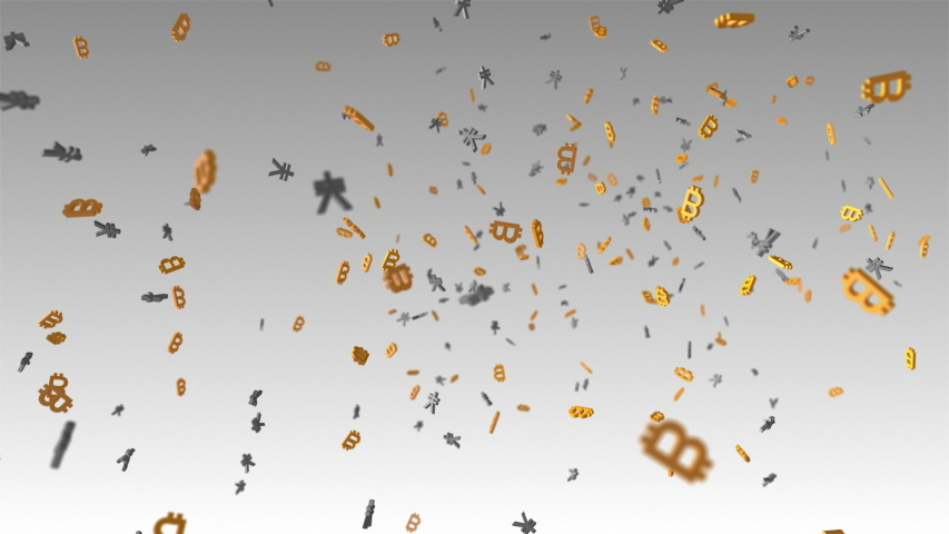 Animation of many digital cryptocurrency bitcoin symbols floating with many Chinese yuan or Japanese yen symbols. | Shutterstock HD Video #1034880608