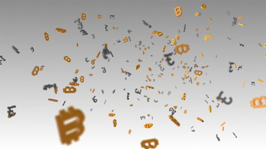 Animation of many digital cryptocurrency bitcoin symbols floating with many British pound symbols. | Shutterstock HD Video #1034880650