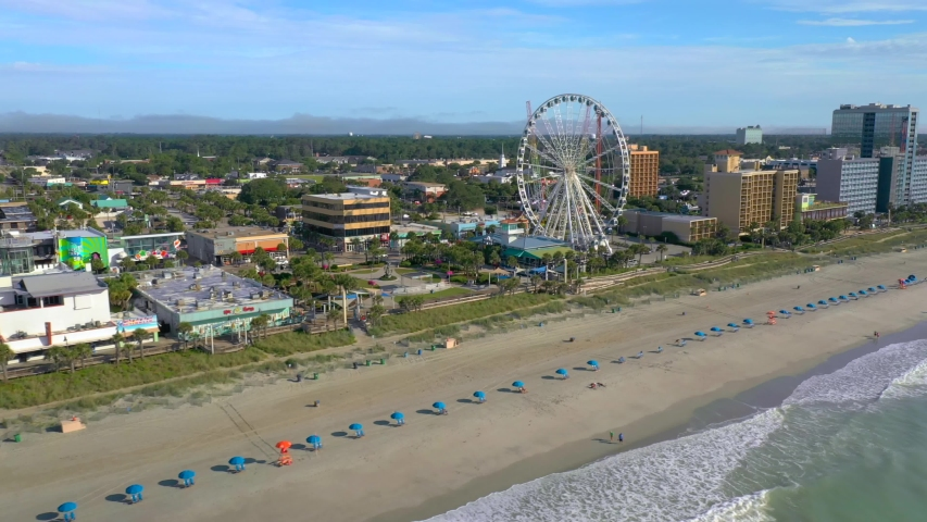 Flying by Myrtle Beach South Carolina aerial video