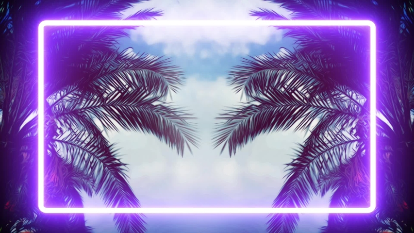 NATURE purple graphic palm trees with trendy aesthetic violet light tropical forest amazing beach illuminates, purple graphic irradiance entertainment industry miami night holiday summer, neon video Royalty-Free Stock Footage #1034903531