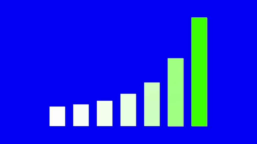 Ultra High Definition Resolution animation footage of green gradient up trend bar chart on blur screen background, chroma key