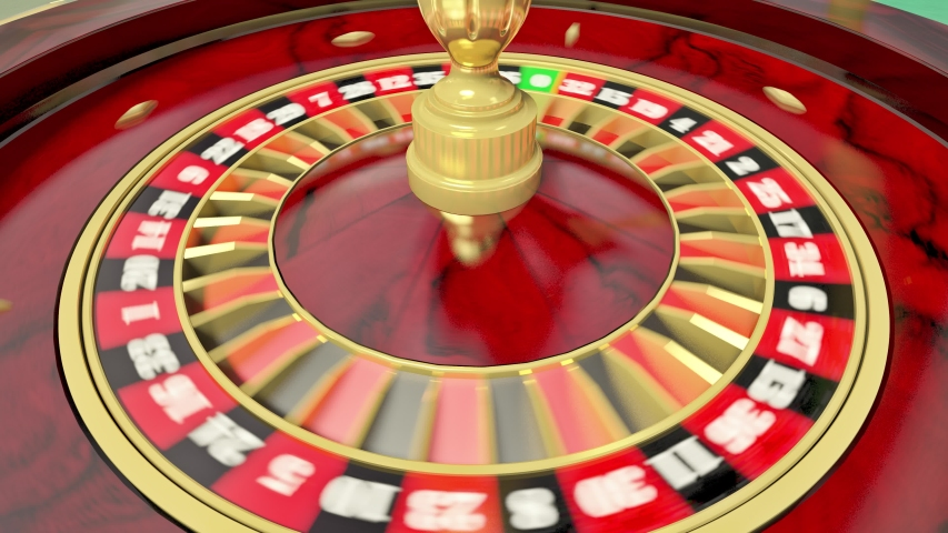 The roulette ball is spinning on the roulette wheel. Looped animation. UHD - 4K - 3D Rendering
