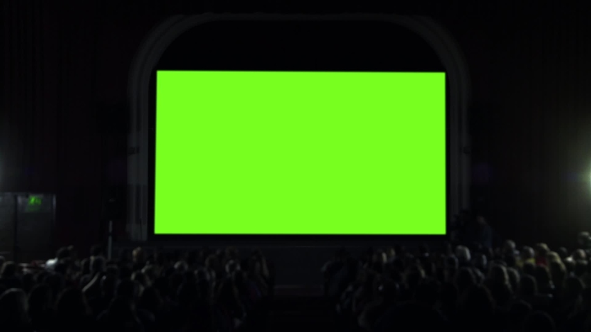 """Cinema Theater Hall with Green Screen. You can replace green screen with the footage or picture you want with """"Keying"""" effect in AE (check out tutorials on Internet)."""