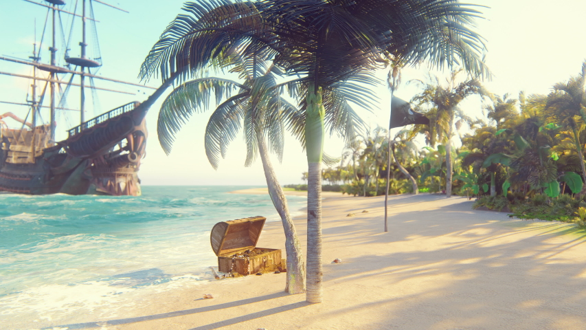 Sand, sea, sky, clouds, palm trees and summer day. Pirate island, chest of gold and pirate flag fluttering in the wind. Beautiful loop background. Royalty-Free Stock Footage #1034956241