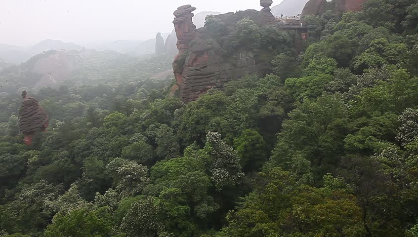 Guifeng of  Shangrao city, a landmark known as Danxia Rock   Shutterstock HD Video #10349714