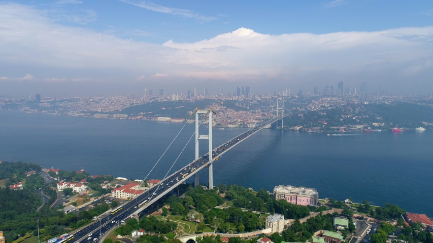 Aerial view of Istanbul Bosphorus Bridge. Istanbul City Landscape. 4K Drone Footage in Turkey. | Shutterstock HD Video #1034972459