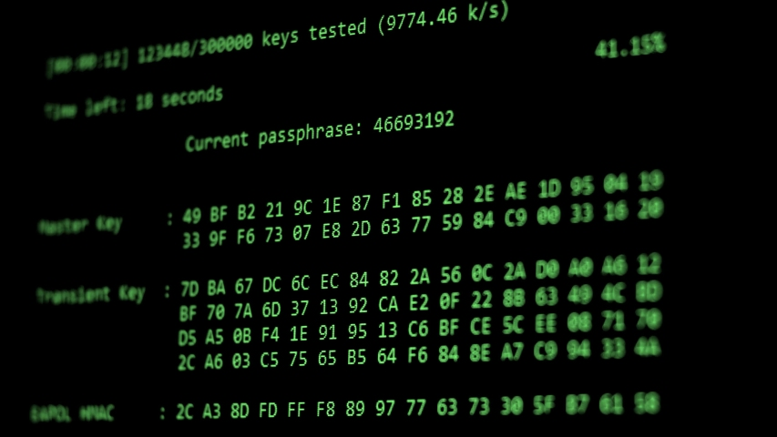 Computer Hacking, hacking bruteforce password attack via Wi-Fi network, Columns Of Hexadecimal Numbers Scrolling On Computer Screen, Key found! dark screen hacker | Shutterstock HD Video #1035004457