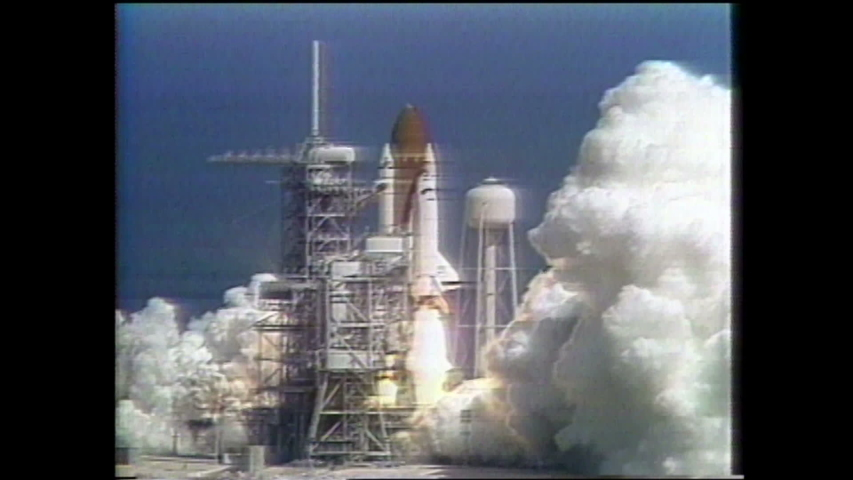 1990s: UNITED STATES: space shuttle launches. Observatory on end of arm in space. GROW launch into space. Animation of GROW in orbit | Shutterstock HD Video #1035009674