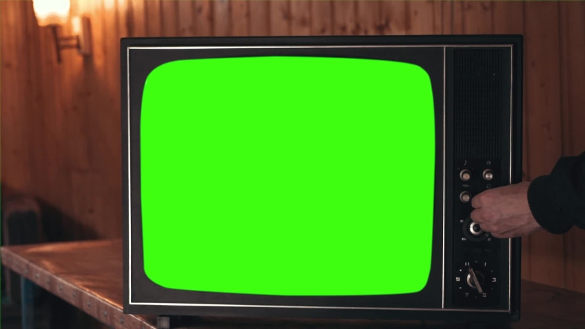 Retro Television with Green Screen, Switching Channels | Shutterstock HD Video #1035022019