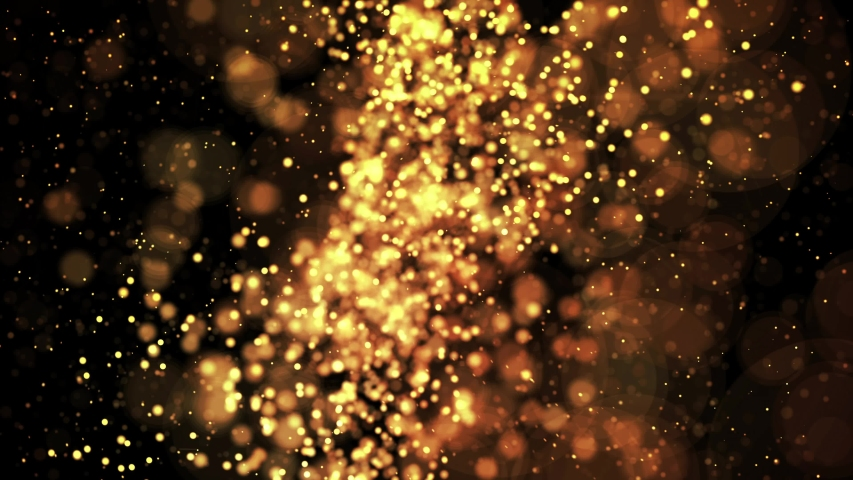 Gold shiny sparkling particles move in a viscous liquid. It is bright festive background with glittering particles depth of field, bokeh and luma matte as alpha channel. 4k 3d animation v67 | Shutterstock HD Video #1035028145