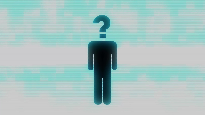 Black icon of a man with quickly changing various symbols instead of his head with blue screen lines glitch effect in seamless loop | Shutterstock HD Video #1035031550