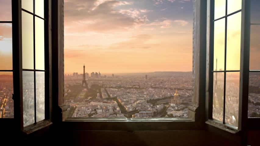 Paris timelapse at sunset seen from a window aerial view