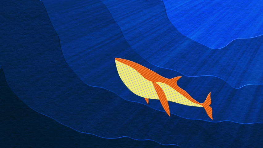 4K cut-out, stop motion style animation featuring a pod of baleen whales underwater
