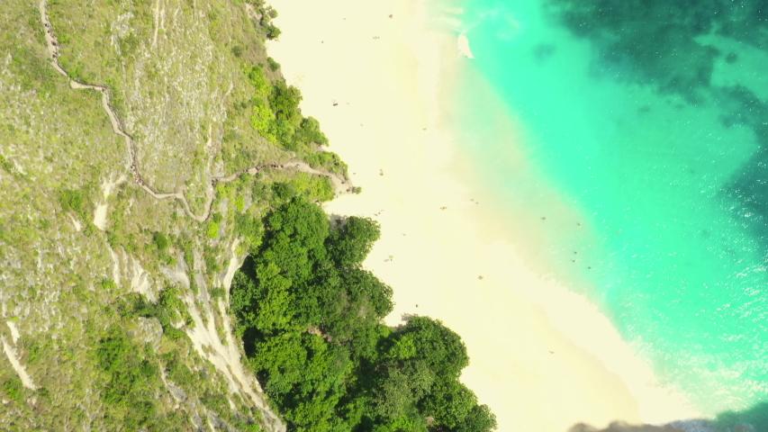 Aerial view of Kelingking beach, Nusa Penida, Indonesia | Shutterstock HD Video #1035052862