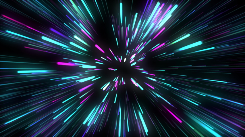 Multi-colored direct rays fly from the center in all directions, a lot of bright rays of blue and purple and Neon green and pink on a black background, Bright motion design,Like a beam in space.  #1035061499