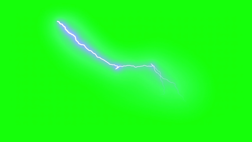Beautiful Lightning Strikes on green screen Background. Electrical Storm. 17 Videos of Blue Realistic Thunderbolts in Loop Animation in 4k 3840x2160.