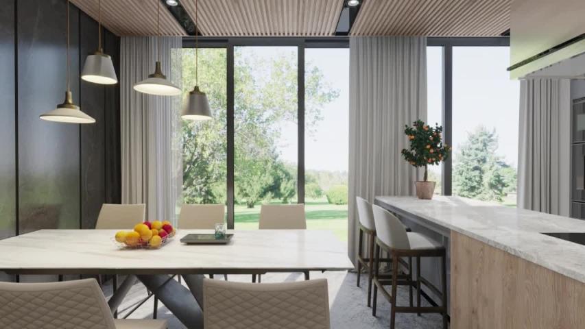 3d render. Camera span across a modern open living space with kitchen | Shutterstock HD Video #1035076055