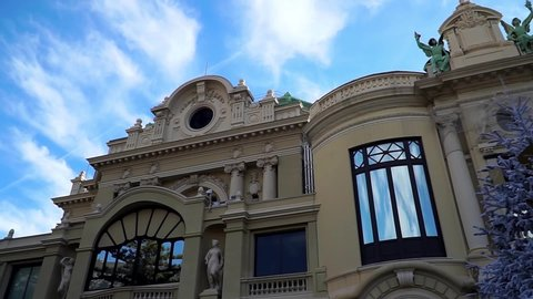 Monaco Monte Carlo. View of the beautiful casino building in the kingdom on the Cote d'Azur in winter. Winter holidays.