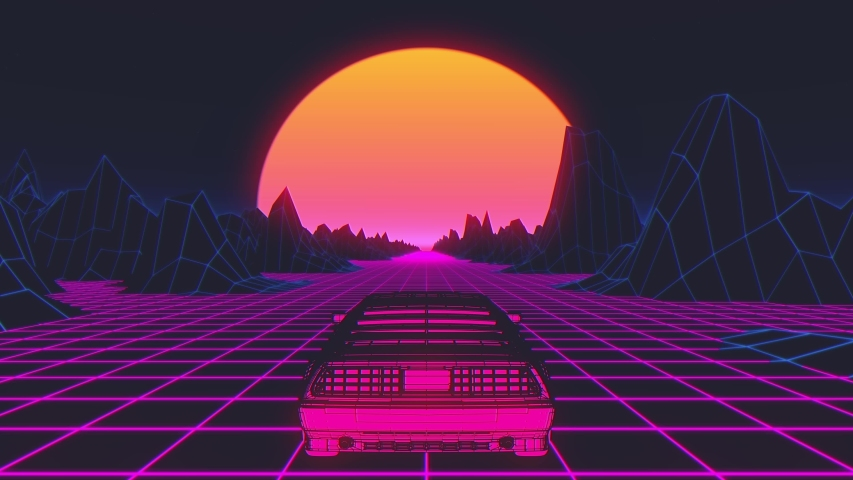 Retro-futuristic 80s style sci-Fi car background. Seamless loop 3D video animation | Shutterstock HD Video #1035094649