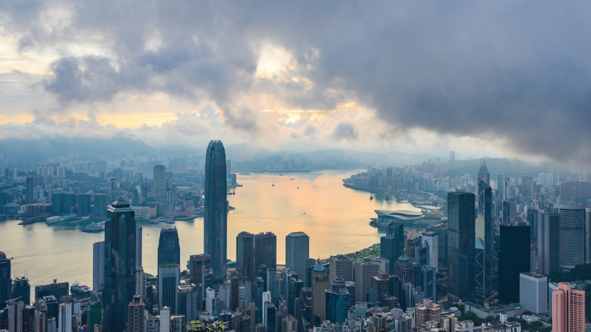 Hong Kong cityscape city urban in morning scene, 4k time-lapse of Hong Kong aerial view, concept of global business finance and communication connection, travel transportation construction industy