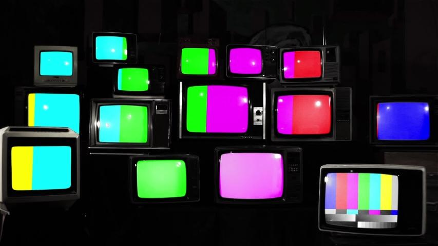 Many Broken Retro TVs. Color Bars. Black and White Tone.
