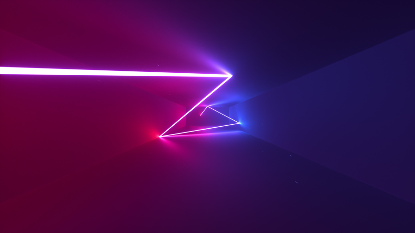 Abstract seamless looped animation of neon, glowing light tubes, lasers and lines bouncing around and moving forward within a dark tunnel with fog and particles. #1035100667