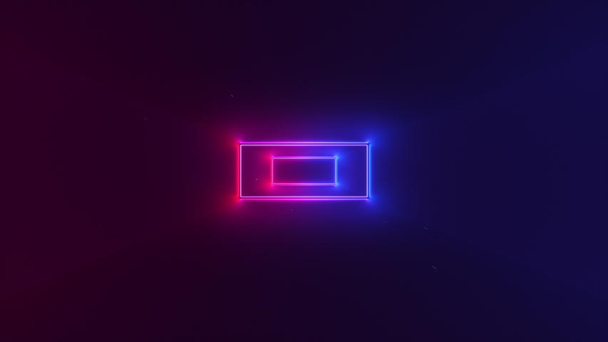 Abstract seamless looped animation of neon, glowing rectangles, glitching and flashing while moving forward within a dark tunnel with fog and particles. Royalty-Free Stock Footage #1035100682