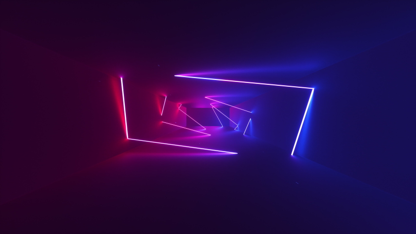 Abstract seamless looped animation of neon, glowing rectangles, rotated moving forward within a dark tunnel with fog and particles. Royalty-Free Stock Footage #1035100742