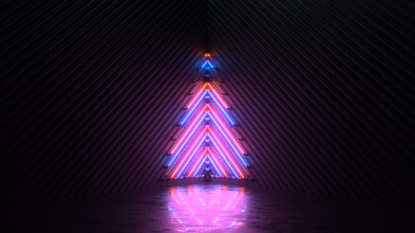 Blinking neon symbol of christmas tree. Winter holidays symbol. Seamless loop 3D render animation